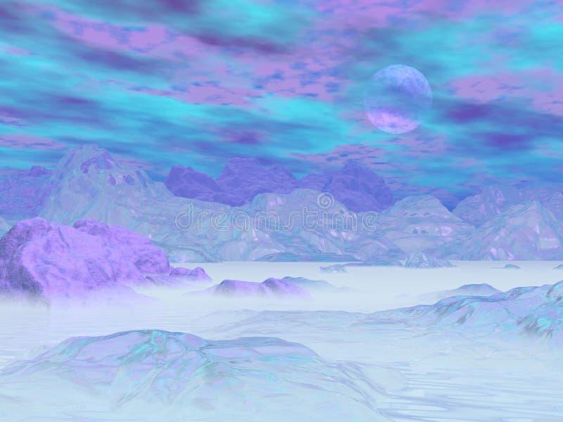 Icebergs coloridos - 3D rinden ilustración del vector