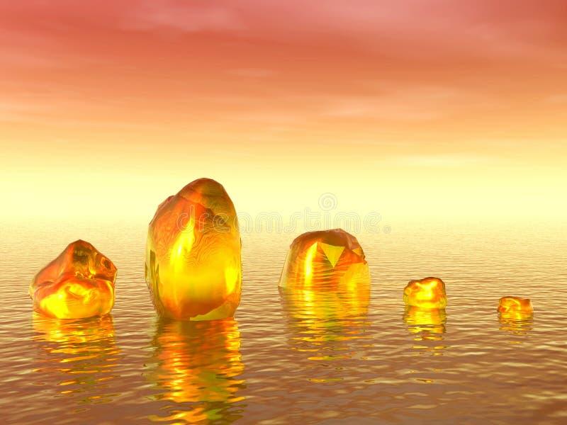 Icebergs d'or en mer illustration stock