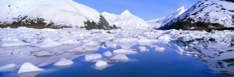 Icebergs dans le lac Portage photos stock