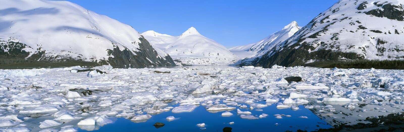 Icebergs dans le lac Portage image libre de droits