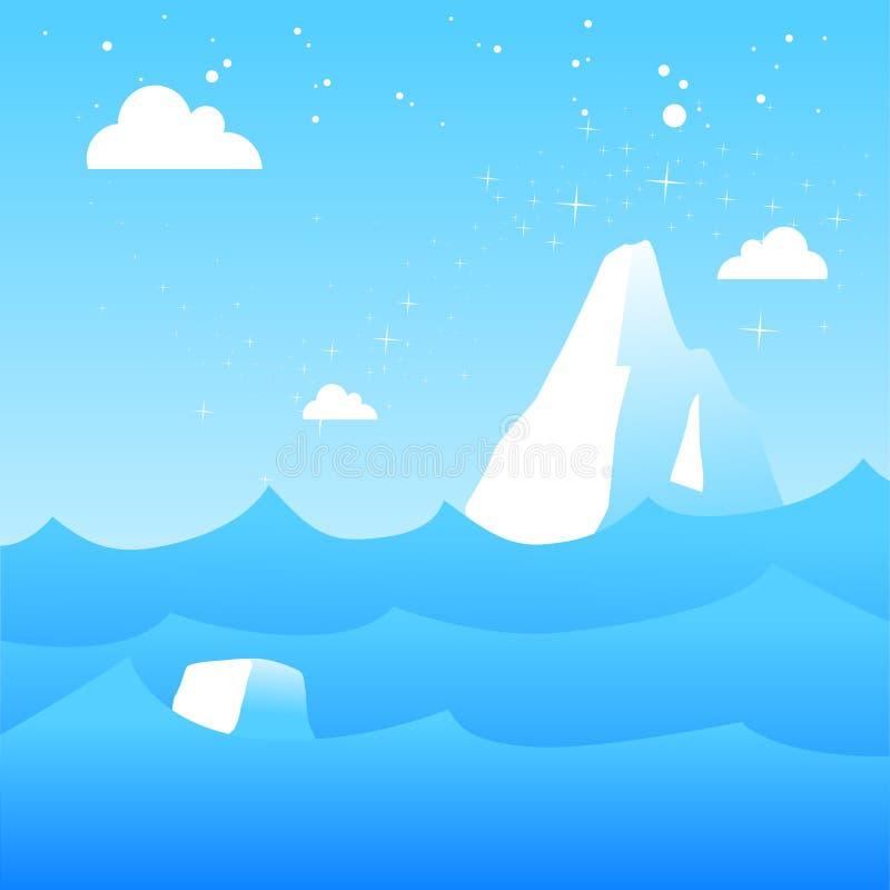 Icebergs de fusión ilustración del vector
