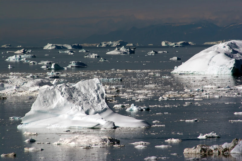 Icebergs in the Disco Bay, Ilulissat royalty free stock photography