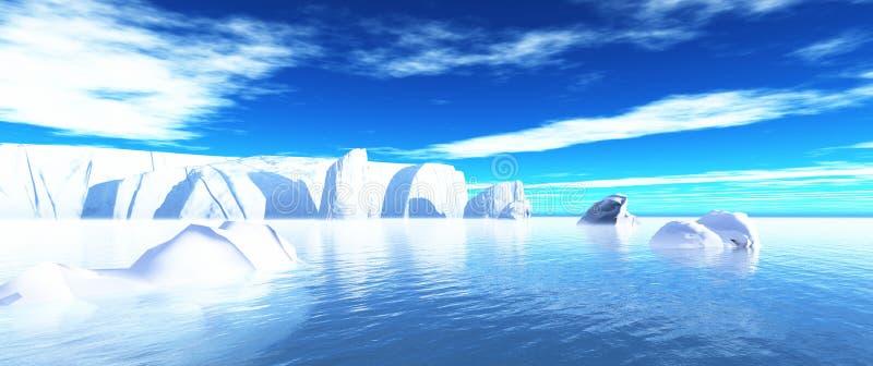Icebergs en el agua 02 stock de ilustración