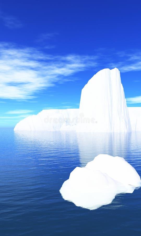 Icebergs en el agua y el cielo azul 02 libre illustration