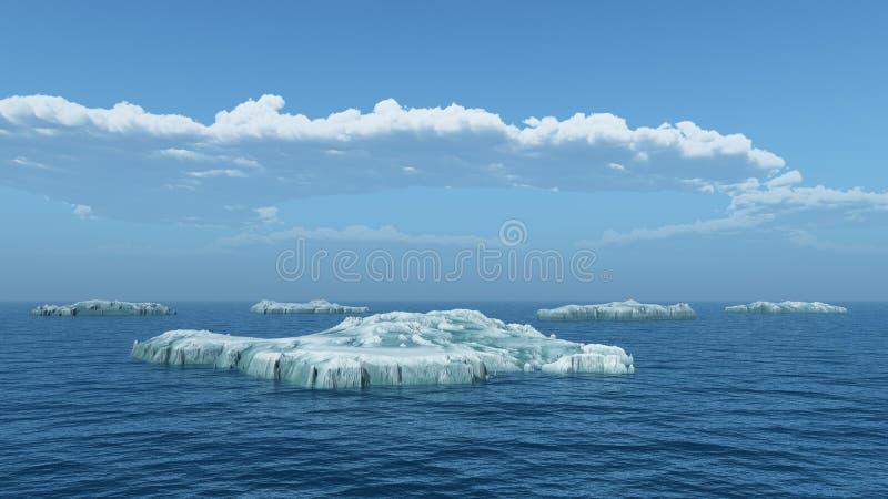 Icebergs en el mar abierto ilustración del vector