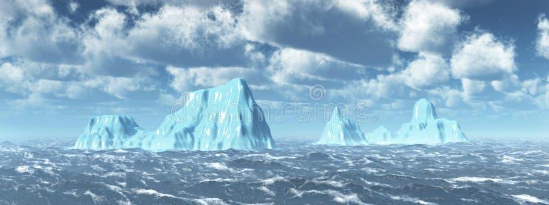 Icebergs en el mar tempestuoso stock de ilustración