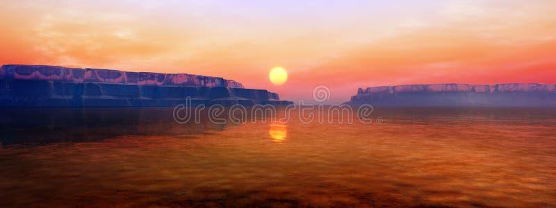 Icebergs en puesta del sol libre illustration
