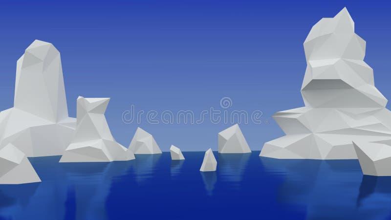 icebergs geométricos Bajo-polivinílicos en agua libre illustration