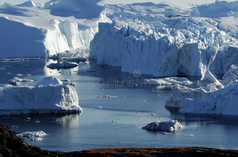 Icebergs in Greenland. Drifting icebergs in the bay of Ilulissat, Greenland royalty free stock image