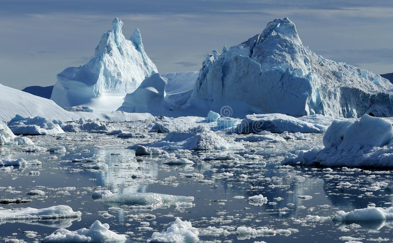 Icebergs in Greenland. Drifting icebergs in the bay of Ilulissat, Greenland royalty free stock images