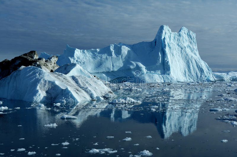 Icebergs in Greenland 12. Drifting icebergs in the bay of Ilulissat, Greenland royalty free stock photo