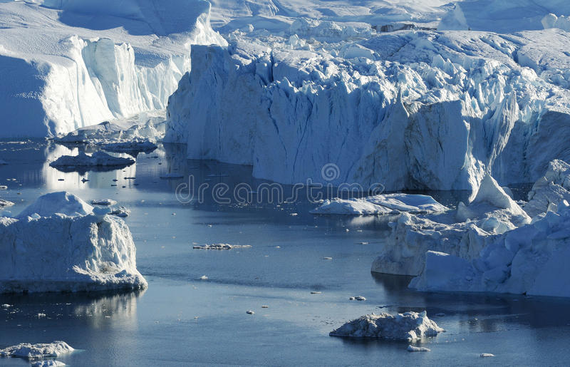 Icebergs in Greenland 15. Drifting icebergs in the bay of Ilulissat, Greenland stock photos