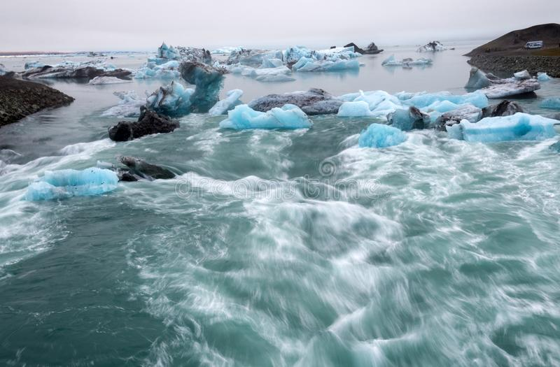 Icebergs in Jokulsarlon beautiful glacial lagoon in Iceland. Jokulsarlon is a famous travel destination in Vatnajokull National Pa stock photo