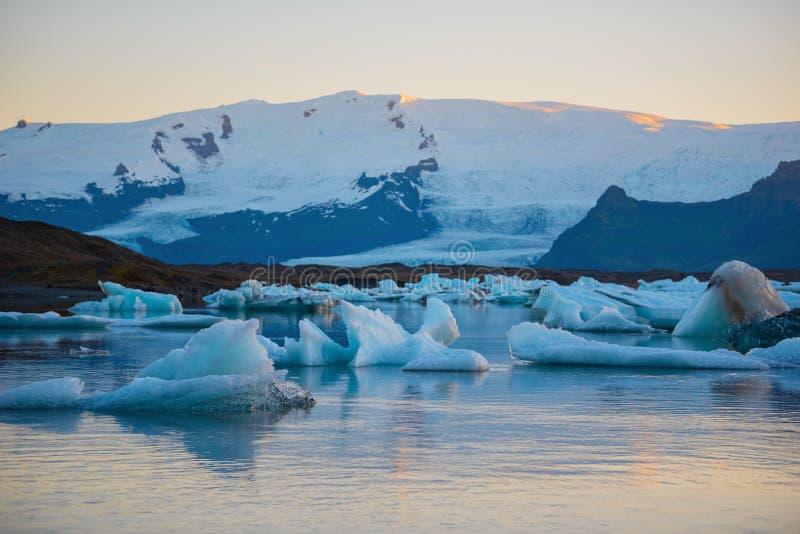 Icebergs in Jokulsarlon glacier lagoon. Vatnajokull National Park, Iceland Summer.Midnight Sun royalty free stock images