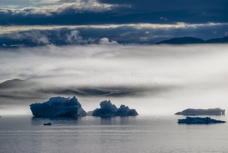 Icebergs in Narsuaq. At sunset stock photo