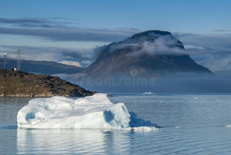 Icebergs in Narsuaq. At sunset royalty free stock images