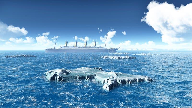 Icebergs y revestimiento marino stock de ilustración