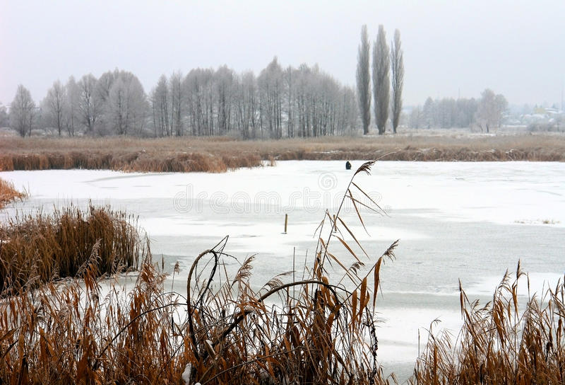The icebound lake. In winter stock photo