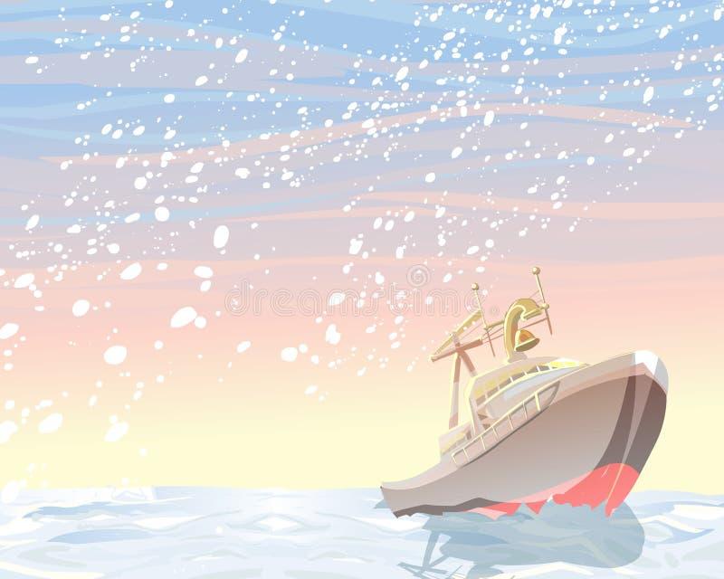 Download Icebreaker in Antarctica stock illustration. Illustration of iceboat - 12979723