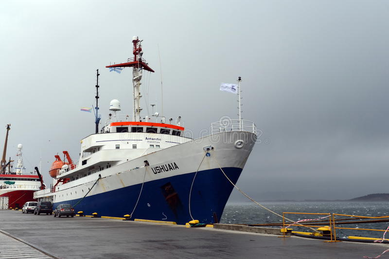 Icebreaker-cruise ship Ushuaia in port of Ushuaia. royalty free stock images