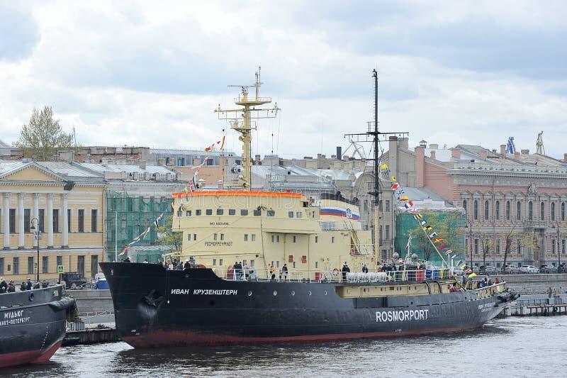 Icebreaker Ivan Kruzenshtern na rzecznym Neva w Petersburg obraz royalty free