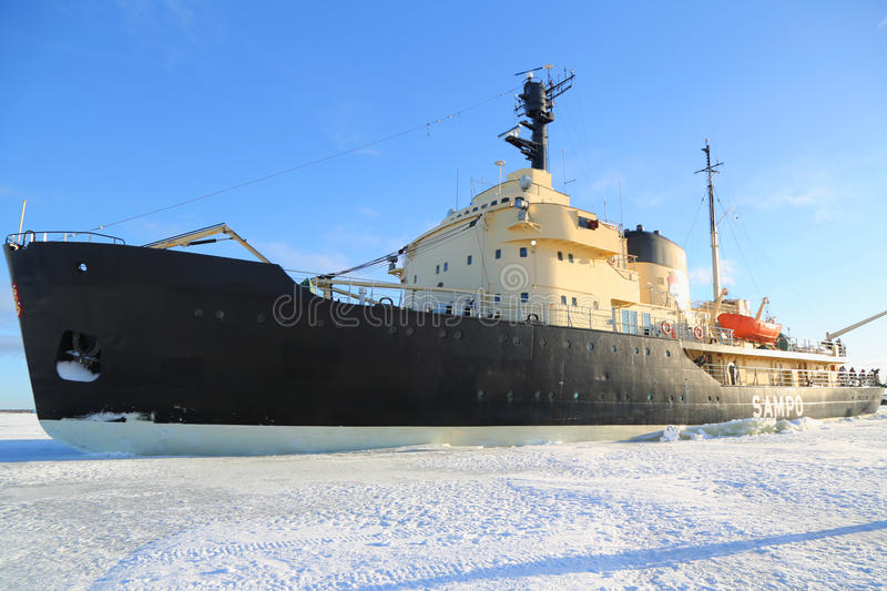 Icebreaker Sampo during unique cruise in frozen Baltic Sea royalty free stock photos