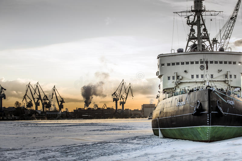 Icebreaker in the winter royalty free stock photo