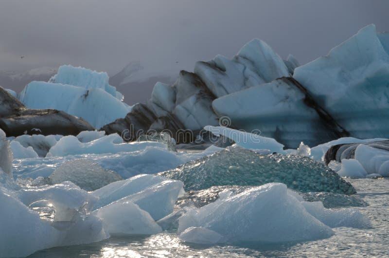 Iceburgs in einer Glazial- Lagune stockfotos
