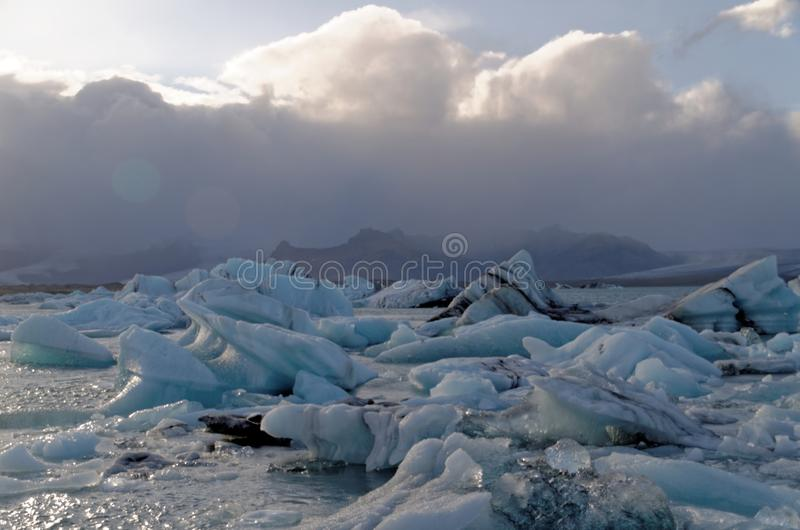 Iceburgs i en is- lagun royaltyfri fotografi