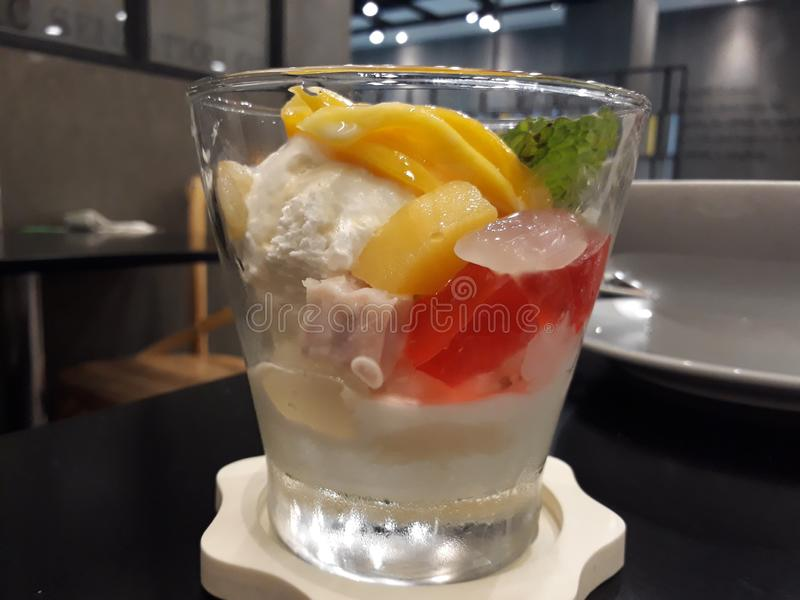 Icecream. Coconut icecream with jelly ,jack fruit,palm seed and taro stock images