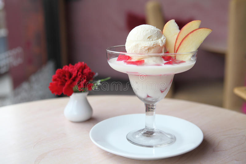 Icecream with jelly and milk. In close up royalty free stock photography