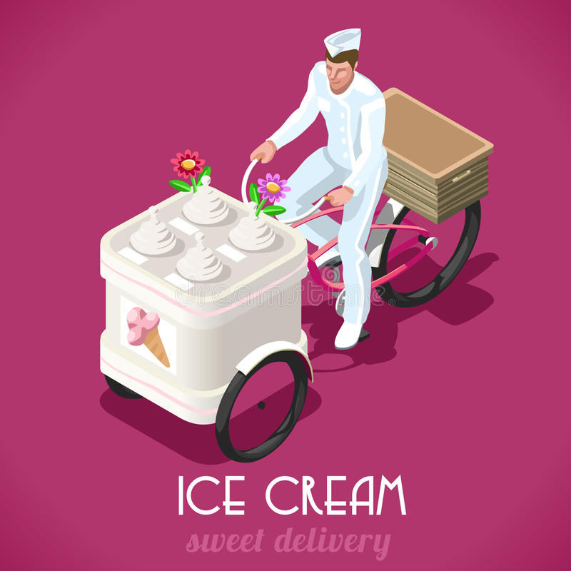 Icecream Man People Isometric. Icecream Food Truck Tricycle. NEW lively palette 3D Flat Vector Vintage Set. Sweet Food People Delivery Concept. Unique Isometric royalty free illustration
