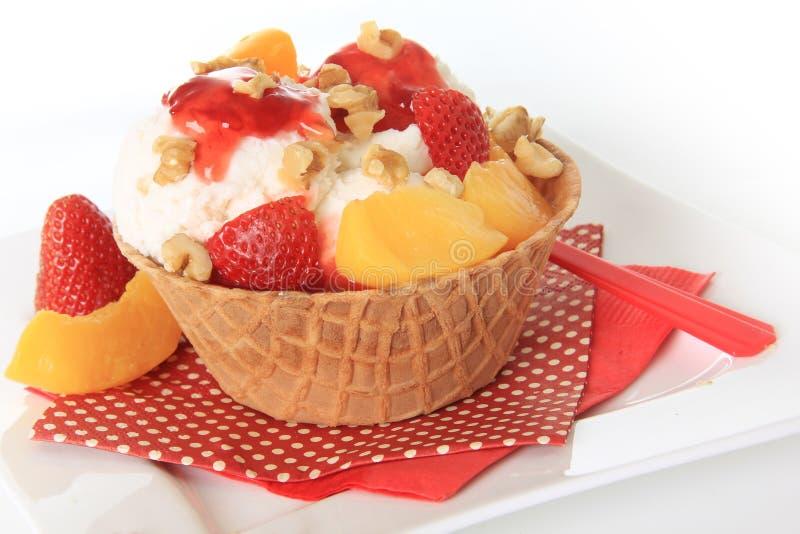 Download Icecream sundae stock image. Image of peach, frozen, vanilla - 24270051