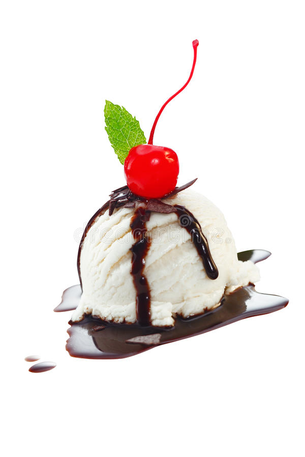 Icecream With Topping Of Chocolate Sauce Royalty Free Stock Photo