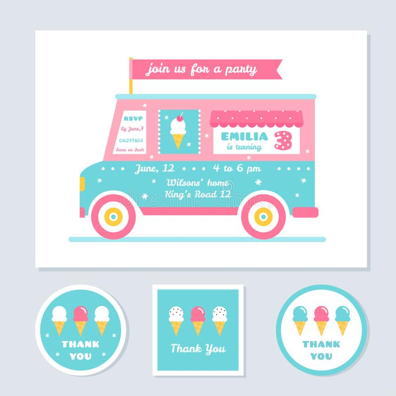 Icecream Truck Vector Kids Party Invitation and Thank You Cards royalty free illustration