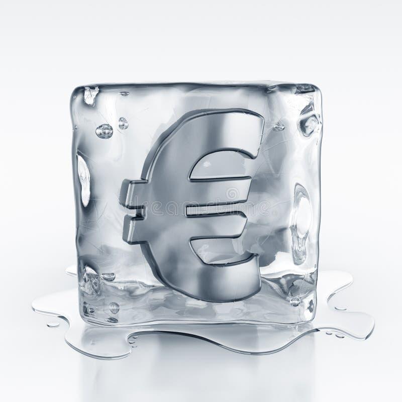 Icecube with euro symbol inside stock illustration
