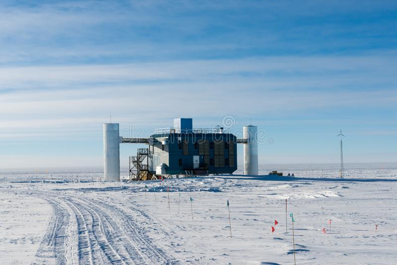 IceCube Neutrino Observatory at the south pole station Antarctica stock image