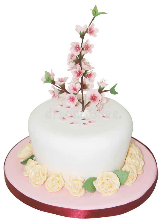 Iced Cake with Peach Blossom royalty free stock images