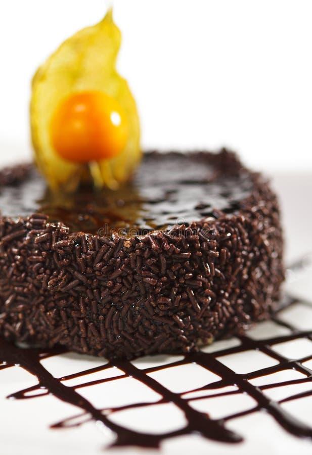 iced cakechokladefterrätt arkivfoto