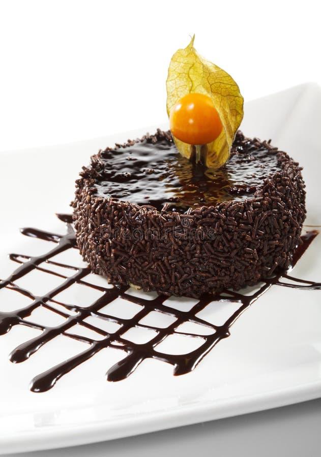 iced cakechokladefterrätt royaltyfri foto
