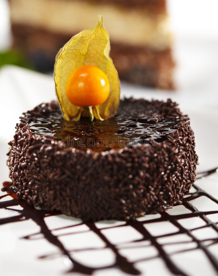 iced cakechokladefterrätt royaltyfri bild
