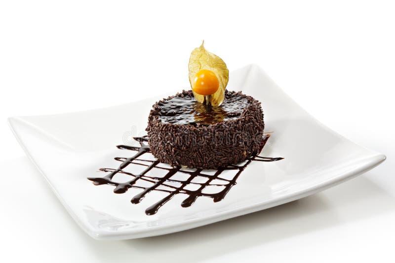 iced cakechokladefterrätt arkivbild