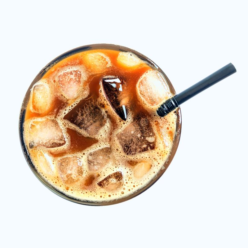 Iced Coffee Or Caffe Latte Top View Close Up On White