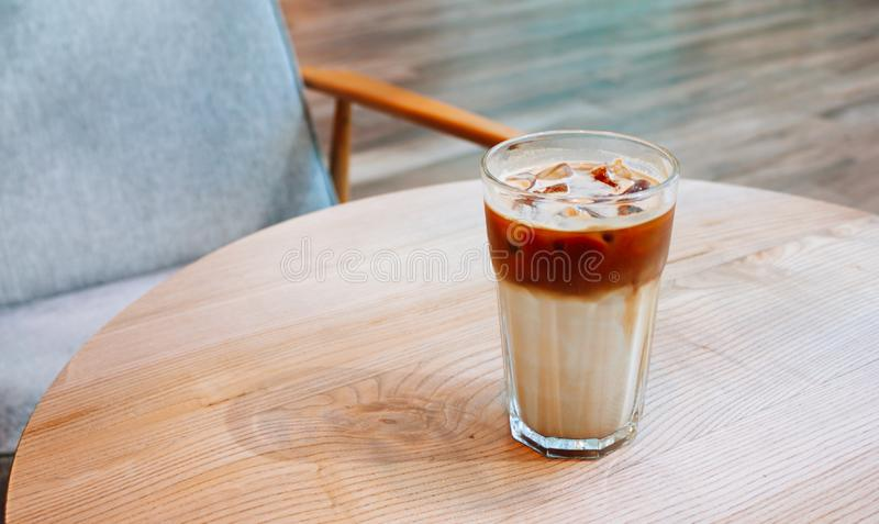 Iced coffee in coffee shop stock photo
