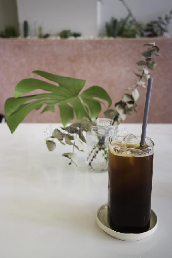 Iced coffee in coffee shop stock images