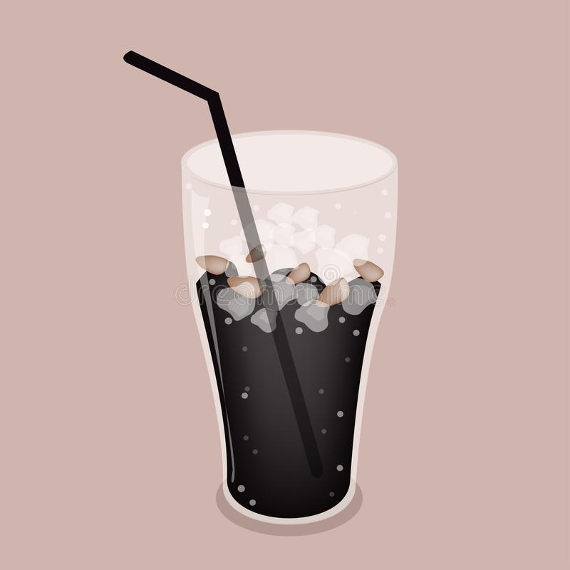 Download Iced Coffee Or Cola Drink On Brown Background Stock Vector - Image: 32858196