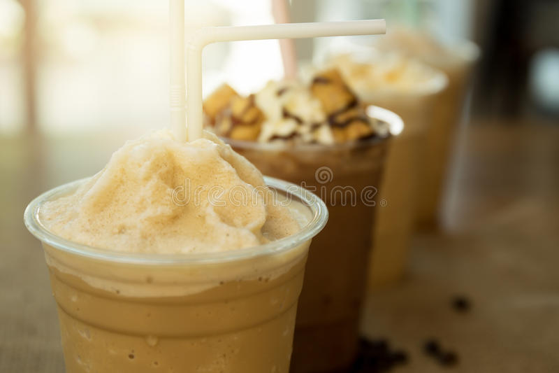 Iced coffee frappe away glass royalty free stock photos
