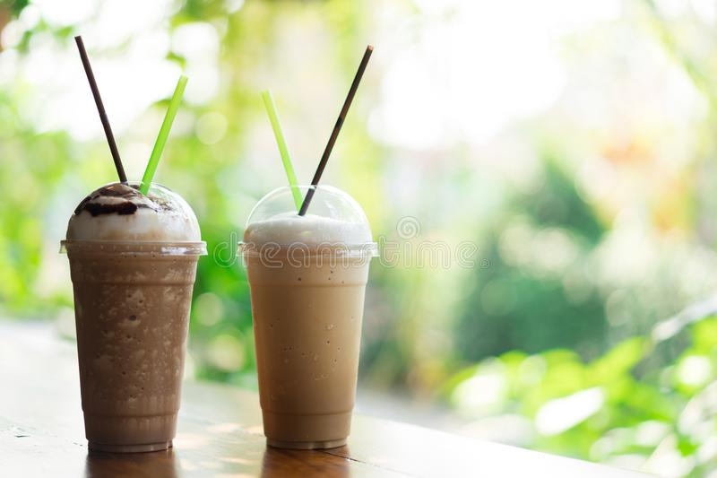 Iced coffee glass on table. Concept Couple of love stock photo