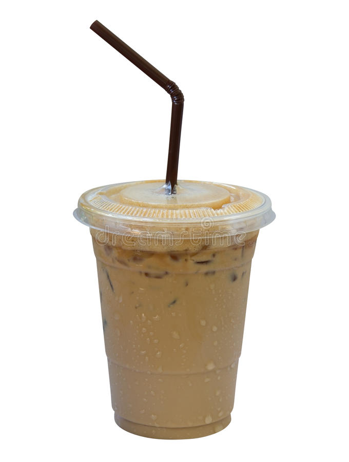 Free Iced Coffee Latte In Plastic Cup Isolated On White Background, C Royalty Free Stock Images - 89389759