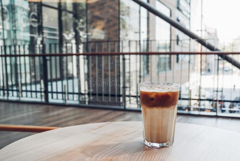 Iced coffee in coffee shop royalty free stock image
